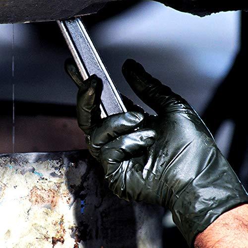 100x Robusto Guanti in nitrile  Extra Safe Guanti Monouso Senza Polvere Senza Lattice AQL 15 Lavoro Pesante Meccanica Industria Chimica Lavastoviglie Pulizia M 78 Nero