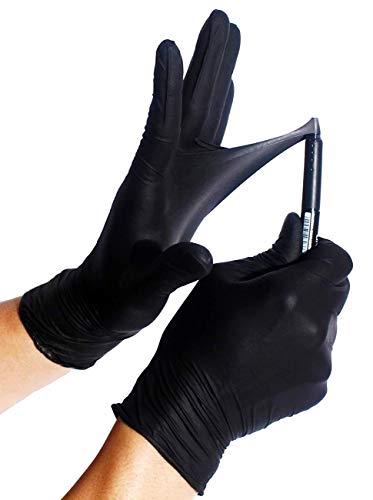 100x Robusto Guanti in nitrile  Extra Safe Guanti Monouso Senza Polvere Senza Lattice AQL 15 Lavoro Pesante Meccanica Industria Chimica Lavastoviglie Pulizia L 89 Nero