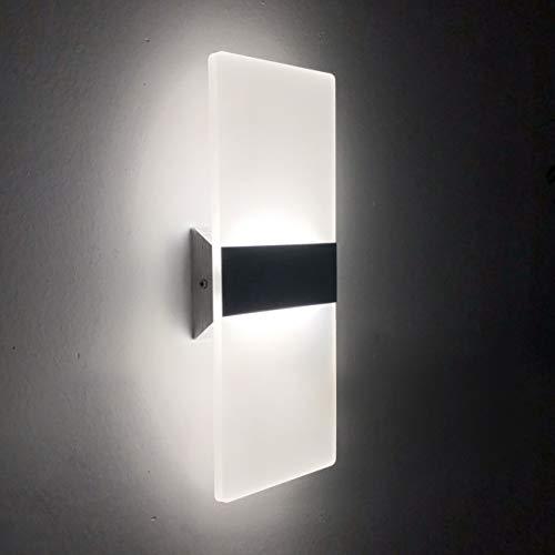 2 Pezzi LED Lampada da Parete Interno 12W Bianco Freddo Moderno Applique da Parete Interni Lampada a Muro in Acrilico Perfetto per Soggiorno Corridoio Bagno Le Scale Luce Notturna