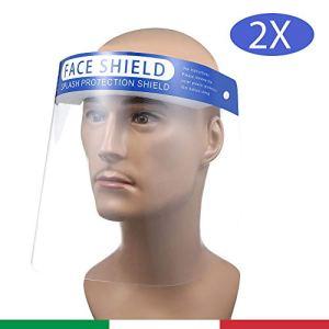 2x Visiera Protettiva Trasparente Paraschizzi Maschera di protezione per il Viso Schermo in Plexiglass Plastica Protezione per Occhi