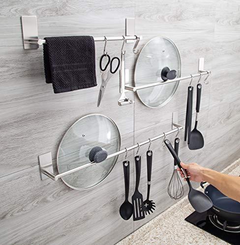 3M adesivi Barra porta asciugamano con 5 ganciSbello e resistenteporta asciugamani facile installarloperfetto per chi non vuole fare buchi nei muriporta asciugamani in acciaio inox 40cm