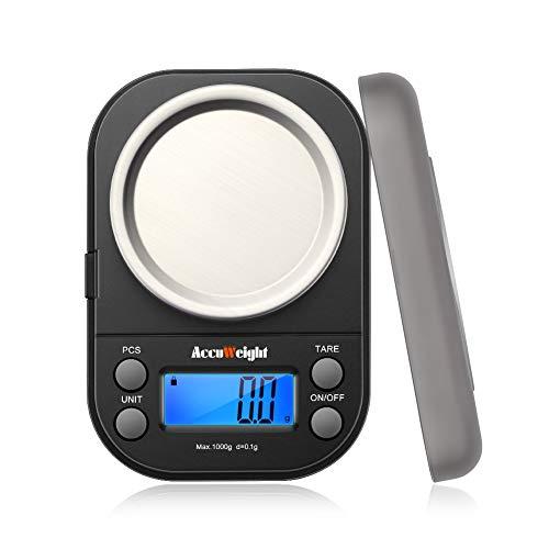 ACCUWEIGHT 255 Mini Bilancia di Precisione Digitale per Gioielli Bilance Alimenti Elettronica con Tara e Calibrazione 1000g01g per Pesa Cucina