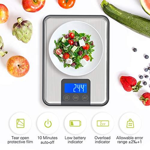 Adoric Bilancia digitale professionale elettrica 15 kg bilancia da cucina con grande superficie di pesatura precisione fino a 1 g 15kg di peso massimo