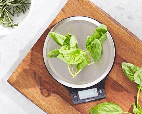AmazonBasics  Bilancia digitale da cucina con display LCD in acciaio inox priva di bisfenolo A pile incluse