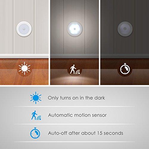 AMIR Luce Notturna Sensore Movimento Luce Armadio con Tamponi Adesivi e Magnete Luce Led Sensore Movimento per Ambini Camera da Letto Scale Corridoio Cucina Garage 3 Pezzi Bianco