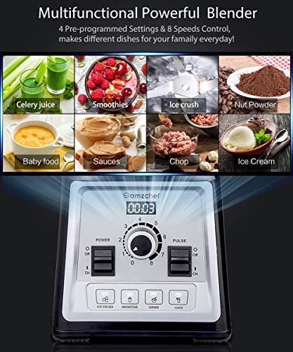 AMZCHEF Professionale Frullatore 2000W Frullatore Multifunzione per Frullati con 4 Programmi Preimpostati e 8 Velocit Regolabili 25000 girimin Boccale in Tritan da 2 Litri senza BPA Ricetta