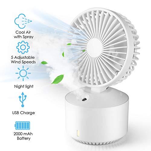 amzdeal Raffreddatore Daria Mini Condizionatore Portatile 5 Velocit Regolabili  2 Modalit di Umidificazione 2000mAh Batteria Carica USB Mini Air Cooler 2 in 1 Ventilatore e Umidificatore