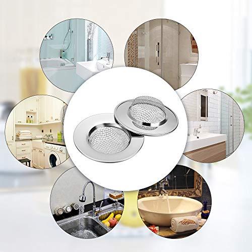 Anpro 2 Filtro Lavello Cucina in acciaio  Colino in Acciaio Inox inossidabile Mini Sink Strainer per Prevenire il Blocco Conduit Vegetale del Filtro per Doccia Vasca da Bagno o Lavelli da Cucina