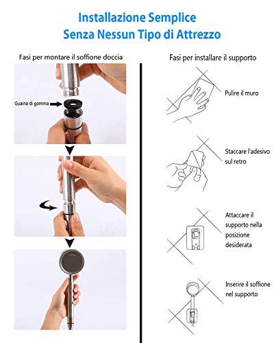 AOKKR Soffione Doccia Alta Pressione Risparmio Idrico Doccia Soffione a Mano Telefoni Doccia Soffione Doccia in Acciaio Inox Facile da Installare Compatibile Doccia per Bagno