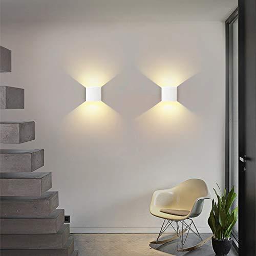 Applique da parete LED 2Pcs Moderna 6W Lampada da Parete Interno 3000K su e gi per lampada da parete per soggiorno camera da letto corridoio