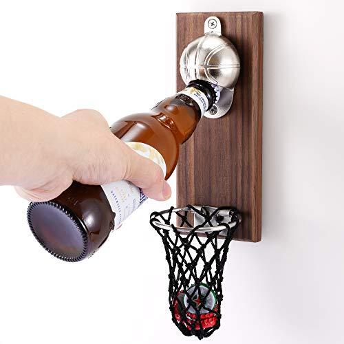 Apribottiglie da Basket con Raccoglitore di Tappi di Bottiglia Apribottiglie Magnetiche per Frigorifero Amanti della Pallacanestro e della Birra Utilizzare Come Decorazione da Bar