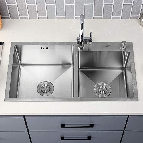 Auralum  Lavelli da Cucina in Acciaio Inox 304 Lavandino Cucina Spazzolato Vasca Doppia 78 x 43 x 22 cm
