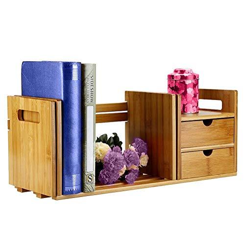 BAKAJI Organizer Libreria da Scrivania Estensibile Regolabile 4 Scomparti con 2 Cassetti in Legno di Bambu Dimensione Massima 80 x 19 x 20 cm Colre Bamboo Naturale