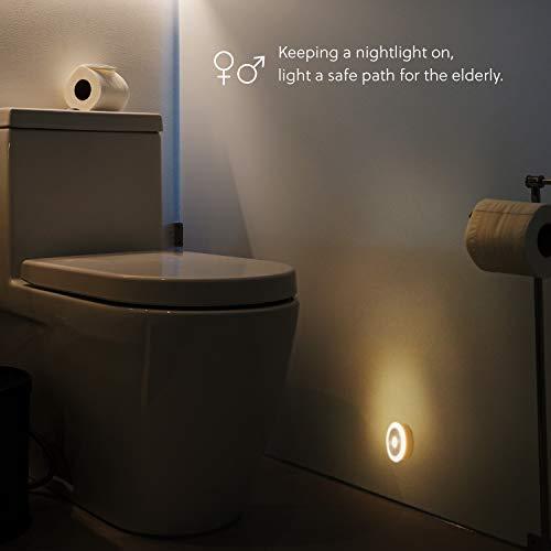 Bedsure Luce Notturna Sensore Movimento 2 Pezzi  Batteria Caricata Pu Essere Posizionato Ovunque  Luce Notturna Led per Camera da Letto Soggiorno Bagno e Corridoio
