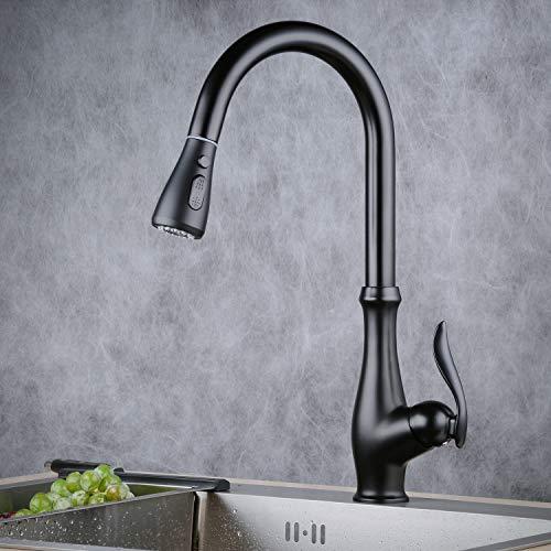 Beelee BL1755B  Rubinetto per lavello da cucina con doccetta estraibile a 3 funzioni colore nero