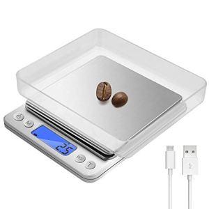 Bilancia Cucina Digitale Bilance Cucina Elettroniche di Precisione Ricaricabili 3kg01g con 2 Vassoi Display LCD Illuminato in Acciaio Inossidabile Tara e Caratteristiche PCS