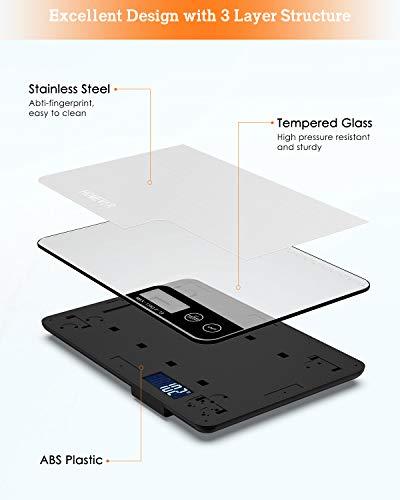 Bilancia Cucina Digitale HOMEVER 15kg Bilancia Cucina con 6 Measuring Units Schermo LCD Funzione Tara Design in Acciaio Inossidabile Argento