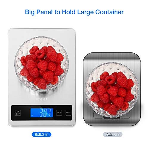 Bilancia Cucina Digitale Homever 15kg in Acciaio Inossidabile Bilancia Cucina Pannello 9  63 InchBilancia da Cucina con 5 Measuring Units e Precisione 1g