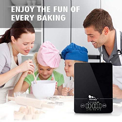 Bilancia da Cucina 5Kg1g Bilancia Elettronica Digitale Alta Precisione Misurazione Display LED Multifunzione da Cucina e Acciaio Inossidabile Usato Come Sveglia nero