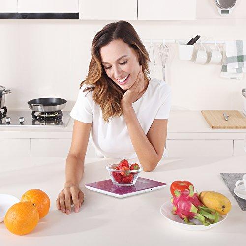 Bilancia da cucina digitale multifunzione ricaricabile con spatola per pasta by NUTRI FIT alta precisione portatile e Funzione tara 11 lb  5kg di cottura e bilancia da cucinaUSBPorpora