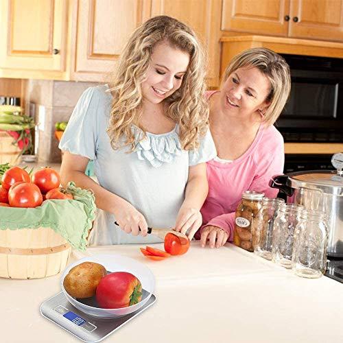 Bilancia da Cucina Smart Digitale con Funzione Tare5kg11 lbs Acciaio Inox Bilancia Elettronica per la Casa e la Cucina con 5 Measuring Units e Precisione 1gBianca2 Batteries Incluse