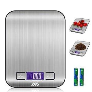 Bilancia digitale da cucinaAdoric Bilancia digitale elettronica da cucina con Alimenti 5kg11lb e Acciaio InossidabileArgento