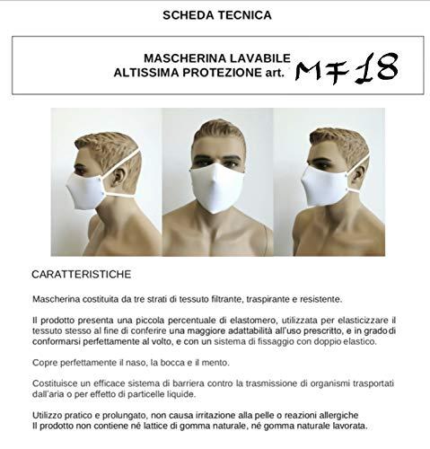 Bimar MF18 kit 2pz Mascherine lavabili Made in Italy ad altissima protezione anti goccia Riutilizzabili MASCHERINA LAVABILE in lavatrice 60 Maschera triplo strato con 95 filtrazione batterica