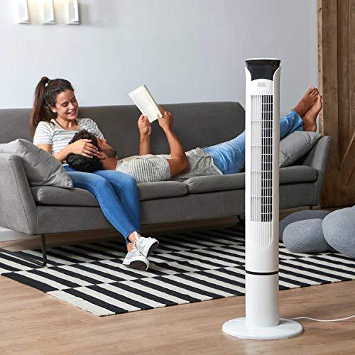 BLACKDECKER BXEFT49E Ventilatore a Torre Digitale Oscillante con Telecomando Altezza 109 cm Silenzioso 3 Velocit 3 Modi Timer 12h Temperatura Ambiente Potente Bianco