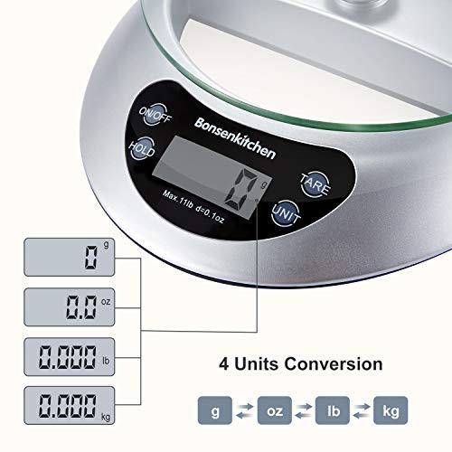 Bonsenkitchen Bilancia da cucina Digitale vassoio di vetro con funzione e rimozione tara 5kg11 lbs Professionale Acciaio Inox Alta Precision Bilancia Elettronica per la Casa e la Cucina Argento