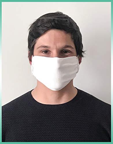 CALZITALY  PACK 5 PEZZI Fascia Protettiva Lavabile e Riutilizzabile Tessuto Antibatterico Protezione Naso e Bocca Made in Italy FASCIA BIANCO
