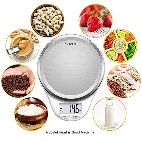 CAMRY Bilancia da cucina Digitale Bilancia Elettronica ad Alta Precisione con Display LCD Funzione di Tara Acciaio Inossidabile 5kg11lb Bianco