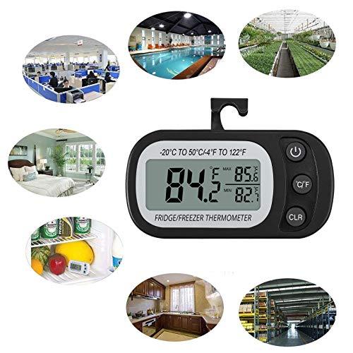 CAMWAY 4PCS Misuratore di Termometro FrigoriferoTermometro Digitale Frigorifero con GancioMisura Umidit e Temperatura Impermeabile Frigorifero e CongelatoreDisplay LCDFunzione MaxMin