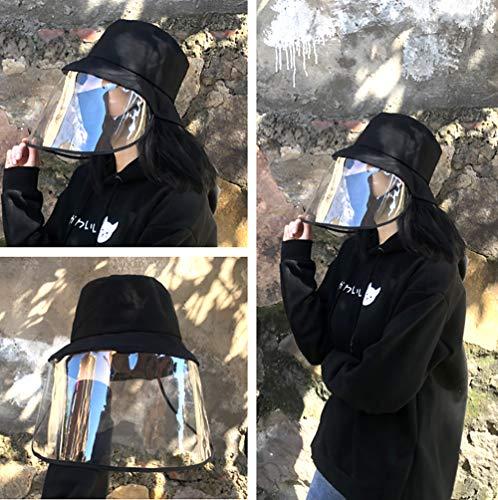 Cappelli da Pescatore in Cotone allaperto con Protezione Completa Trasparente Rimovibile Maschera AntiPolvere per Campeggio Cappelli da Trekking Spiaggia Viaggi Pesca alla Moda Pieghevoli Nero