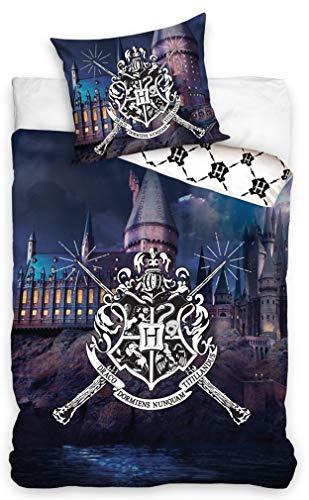 Carbotex  HP188010  Harry Potter Set Letto Castello di Hogwarts 2 Pezzi Copripiumino 160x200cm e Federa 70x80cm Originale Cotone