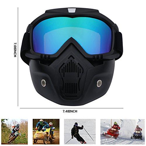 Casco da moto con occhiali maschera rimovibile staccabile caldo antinebbia occhialini filtro bocca regolabile cinghia antiscivolo vintage Harley Bullet Fight motocross colorful