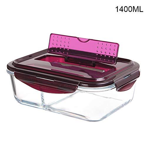 Contenitore per alimenti in vetro con coperchio a 2 scomparti per preparare i pasti Bento Box congelatore forno a microonde lavabile in lavastoviglie Borosilicato vetro Viola1400 ml 1400ml