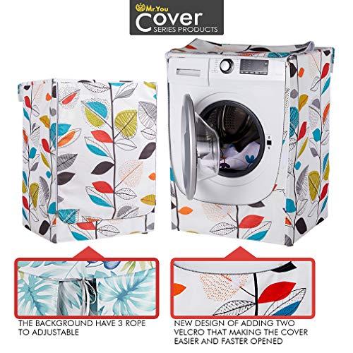 Coprilavatrice Integrato Lavatrice Copertura Impermeabile AntiSpruzzi e Anti Sunlight Lavatrice Copertura60x64x85cmFoglie Colorate