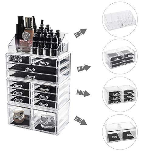 D4P Display4top cosmetico dell organizzatore di immagazzinaggio Make Up dell organizzatore di immagazzinaggio Cosmetici per Bagno Desktop 12 cassettiere Traparente