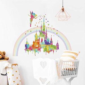 decalmile Adesivi Murali Arcobaleno Castello Adesivi da Parete Fata Stelle Decorazione Murale Asilo Nido Camera da Letto Cameretta Bambini Stanza delle Ragazze