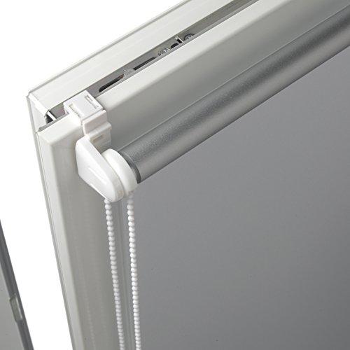 Deco Company Tenda a rullo con rivestimento termico con morsetto o adesiva Elevato riflesso della luce Risparmio energetico Kit di montaggio incluso Bianco 45 x 150 cm LxA