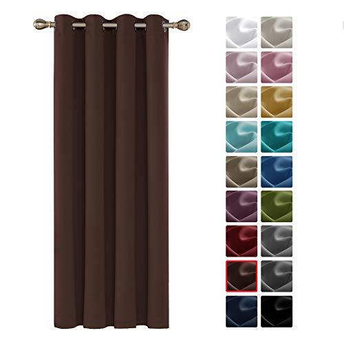 Deconovo Tenda Oscurante Termica Isolante con Occhielli per Camera da Letto Interni Cioccolato 140x260 CM Un Pannello