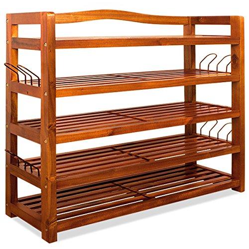 Deuba Scaffale XXL in legno di acacia  legno massello  5 robusti ripiani  95 cm x 26 cm x 82 cm  porta scarpe  scaffale  colore marrone
