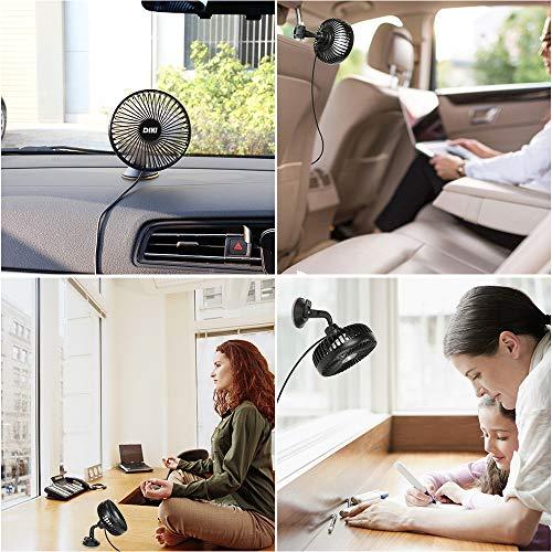 DIKI Ventilatore Auto Ventilatore USB Ventola per Auto A 3 velocit Ventola di Raffreddamento per Auto con Staffa Ventosa E Staffa per Sedile Posteriore per Auto SUV RV Camion Ufficio E Casa