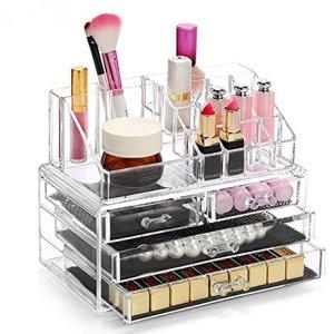 Display4top cosmetico dell organizzatore di immagazzinaggio 4 cassetti in impermeabile Crystal Make Up dell organizzatore di immagazzinaggio cosmetici per bagno Desktop Student Heim trasparente