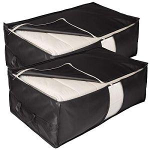 Elezay contenitori portaoggetti sotto il letto con cerniera e manico 2 pezzi organizer Nero  31x17x98 IN