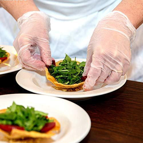 EXTSUD 100 Pezzi Guanti Trasparenti Elastici Guanti Ambidestri Senza Polvere Multifunzione per Casa Cucina Ristorante Bellezza Taglia L
