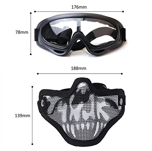 Fansport Tactical Airsoft Mask Tattica Maschere Maschere Airsoft Airsoft BBS Airsoft Mesh Mask Maschere tattiche Mezze Maschere con Gli Occhiali Set Paintball Face Mask in Acciaio BlackWhite