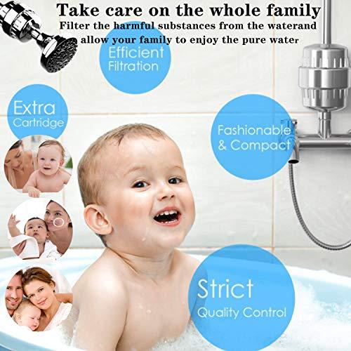 Filtro Doccia Alta Pressione Universale Filtri Docciaartuccia di Filtro Sostituibile Filtro a Pi Stratifiltra cloroRidurre i Metalli Pesanti Nocivi Proteggere i Peli Capelli e la Secca