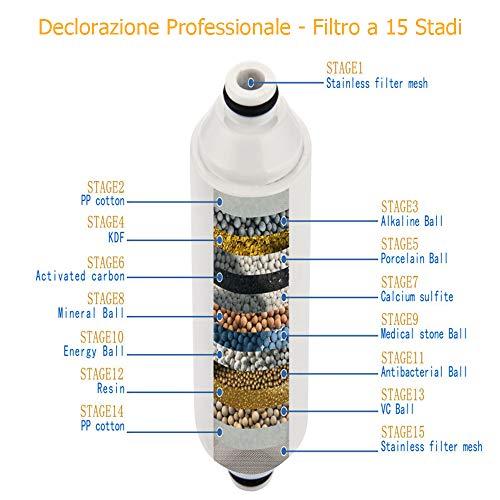 Filtro Doccia con 2 Cartucce Filtro 15 Strati Universale Filtro Sostituibile Adatto a Qualsiasi Soffione per Regolare il pH Dellacqua e Filtrare Cloro Microbi e Metalli Pesanti