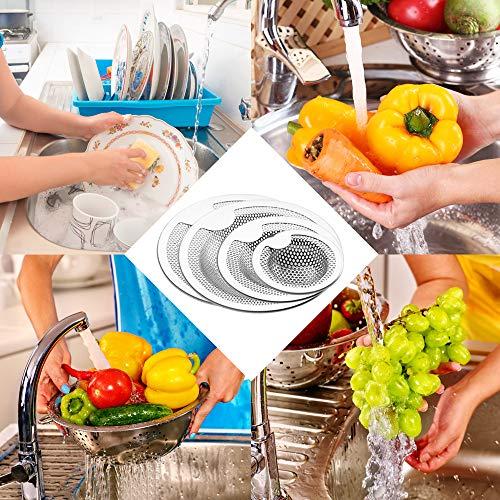 FineGood  Set di 4 filtri per lavello da cucina in acciaio inox antiintasamento per lavello e lavello colore argento